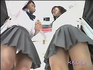 Asian schoolgirls in short..