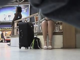 Nice long legs up skirt view..