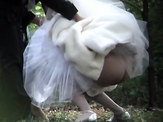 Beautiful bride is pissing..
