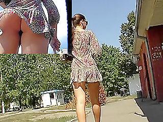 Short summer suit upskirt..