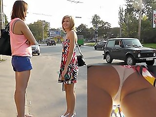 Spy upskirt in public..
