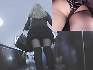 Hotty on escalator nylons..
