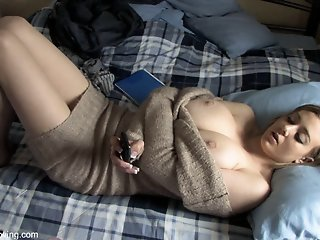 Plump breasted babe in a..