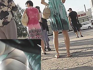 Green string panty upskirt..