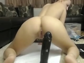 redhead riding big dildo
