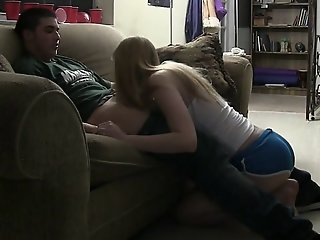 Two cute college teens share..