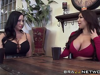 Two busty babes share one..