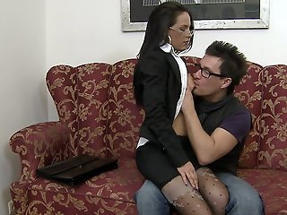 Hot brunette secretary gets..