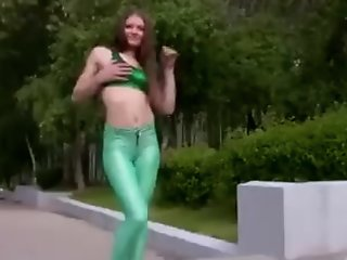 Kleo in green disco spandex
