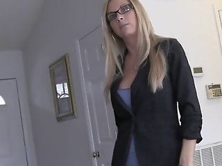 Blonde milf gives pov blow job