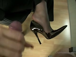 stocking footjob with..