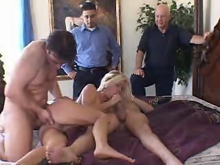 English  blonde wife ganged..