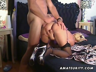 Busty amateur escort sucks..