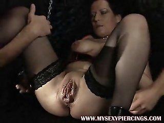 Pumped pierced MILF fucked..